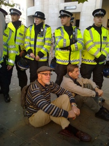 Protestors kettled at St Pauls #OccupyLSX. Photo by hackofalltrades, used under creative commons licence
