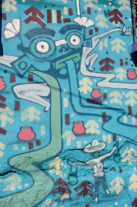 Tlaloc, Aztec god of water, depicted in the mural