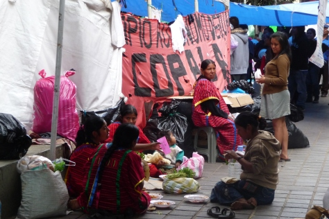 Meal time at Triqui protest camp in Oaxac City