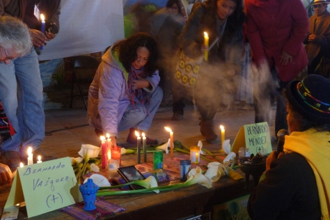 Tribute to Bernardo Vásquez Sánchez and Bernardo Mendez Sánchez during an anti-mining conference in Oaxaca, Mexico in January 2013
