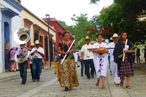 Ceremonial march in Oaxaca for March Against Monsanto day of global action