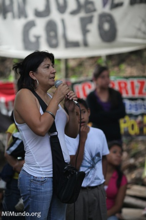 Yolanda Oquely Veliz (pictured) was shot in June 2012 as she left the peaceful resistance camp La Puya.