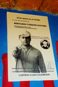 Posters in San Jose del Progreso commemorate anti-mining activist Bernardo Vásquez Sánchez who was killed in March 2012