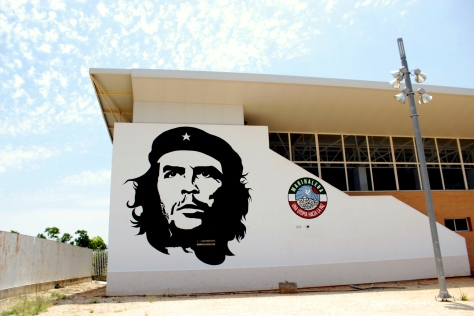 Che Guevara painted on the local sports stadium in Marinaleda