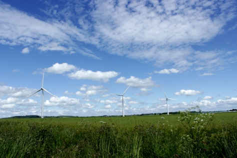 Westmill Wind Farm hosts 5 towering turbines on the Oxfordshire/ Wiltshire boder in the south of England