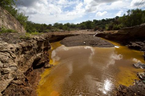 River polluted by highly toxic copper sulphate solution in Sonora, Mexico