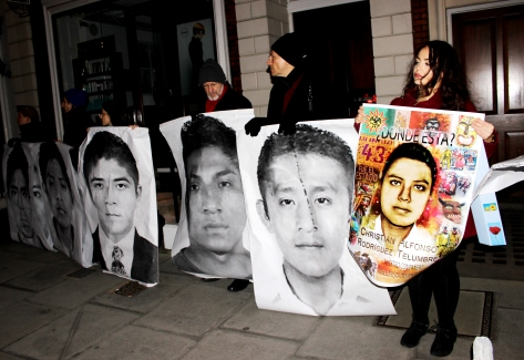 Protest outside the Mexican Embassy in London in January 2015, four months after the 43 students were abducted