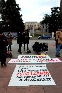 Protest outside UN HQ in Geneva